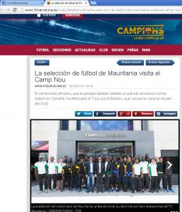صورة الخبر على الموقع الرسمي للنادي الكتالوني